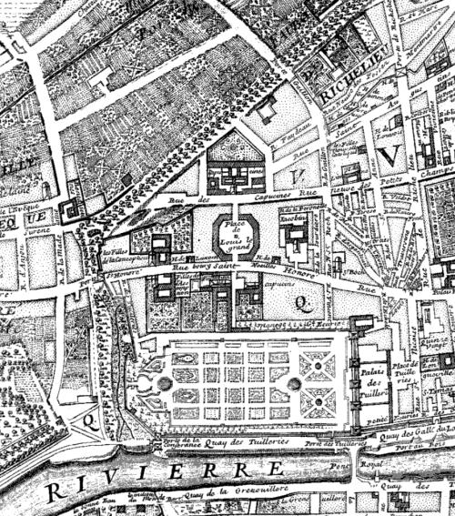 Detail: Huitième Plan de Paris divisé en ses Vingts Quartiers / Par N. de Fer, ... ; pour servir au Traité de la Police pour M.L.C.D.L.M.; Nicolas de Fer (1647?-1720), Cartographe du modèle; Nicolas de La Mare (1639-1723), Cartographe, 1705. Bibliothèque nationale de France