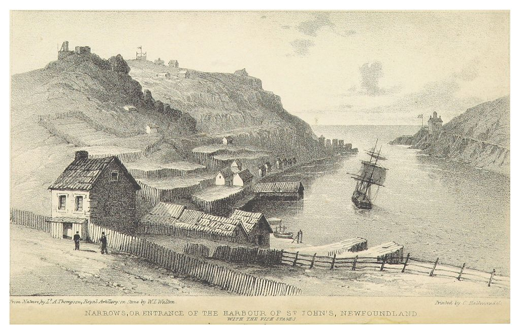 Entrance of the Harbour of St. John's, Newfoundland, 1842. From Richard H. Bonnycastle, Newfoundland, in 1842 (London: Henry Colburn, 1842) British Library via Wikimedia Commons