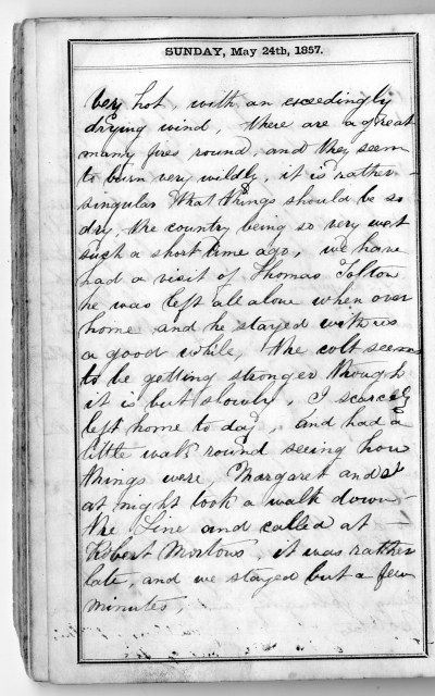 William Sunter's Diary, Wellington County, 1857 Archival and Special Collections, University of Guelph