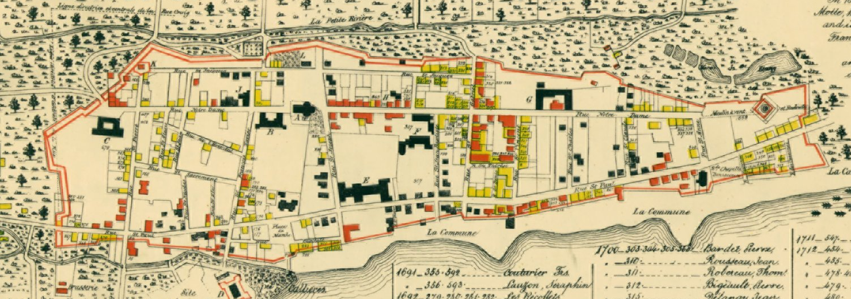 Plan de Montréal, 1687 à 1723 (Detail), in Le Vieux Montréal, 1611-1803, eds. H. Beaugrand and P.-L. Morin (Montreal: H. Beaugrand, 1844). Bibliothèque et Archives nationales du Québec