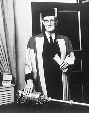 Donald Creighton, Receiving an honorary degree, 1974. Library and Archives Canada (123984), via The Canadian Encyclopedia