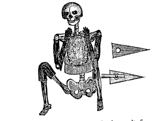 "The so-called ""Skeleton in Armour"" of Fall River, Mass., as illustrated in The American Monthly Magazine, Jan. 1836. It accompanied the article by Harvard historian Jared Sparks that argued it was Phoenician. The burial was a typical Indigenous one of the seventeenth century."