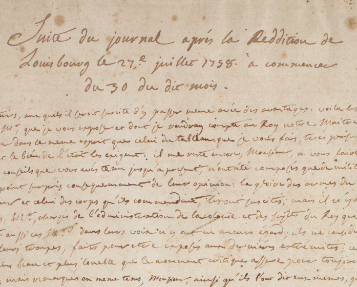 Journal du siège et de la reddition de Louisbourg (detail), 1758-59, Library and Archives Canada, R15514-0-4-E