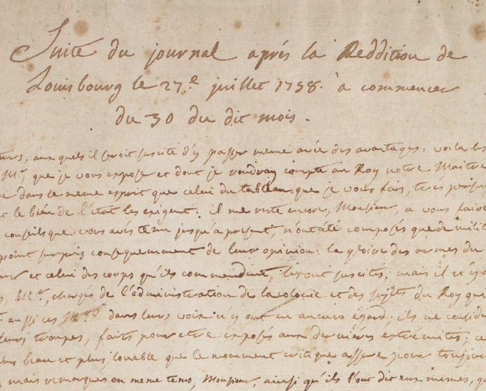 Journal du siège et de la reddition de Louisbourg (detail), 1758-59, Library and Archives Canada, R15514-0-4-E