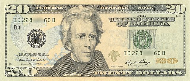 President Andrew Jackson on United States $20 bill