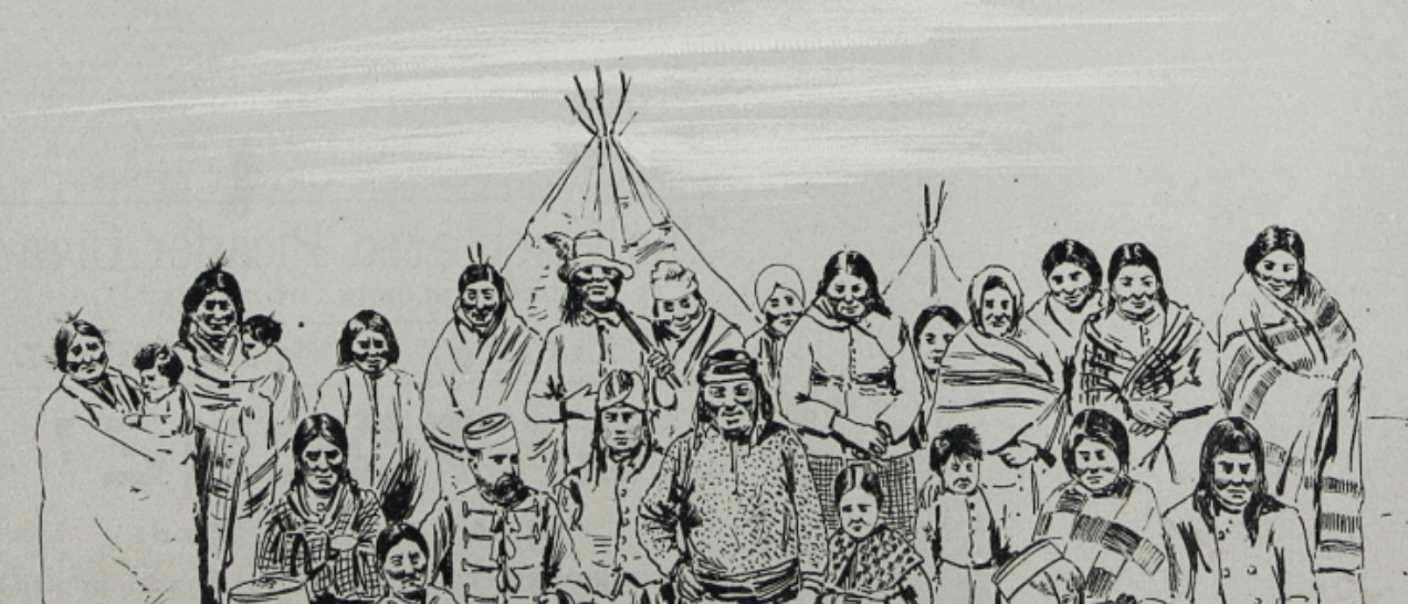 Aan image of White's Band and their captors. The caption for the White Cap image lists Chief Whitecap, his wife and daughter – although their personal names are not given.