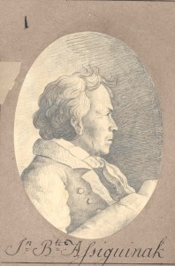 J.B. Assiginack sketched by Nicolas Point, s.j. (Archives of the Society of Jesus of Upper Canada)