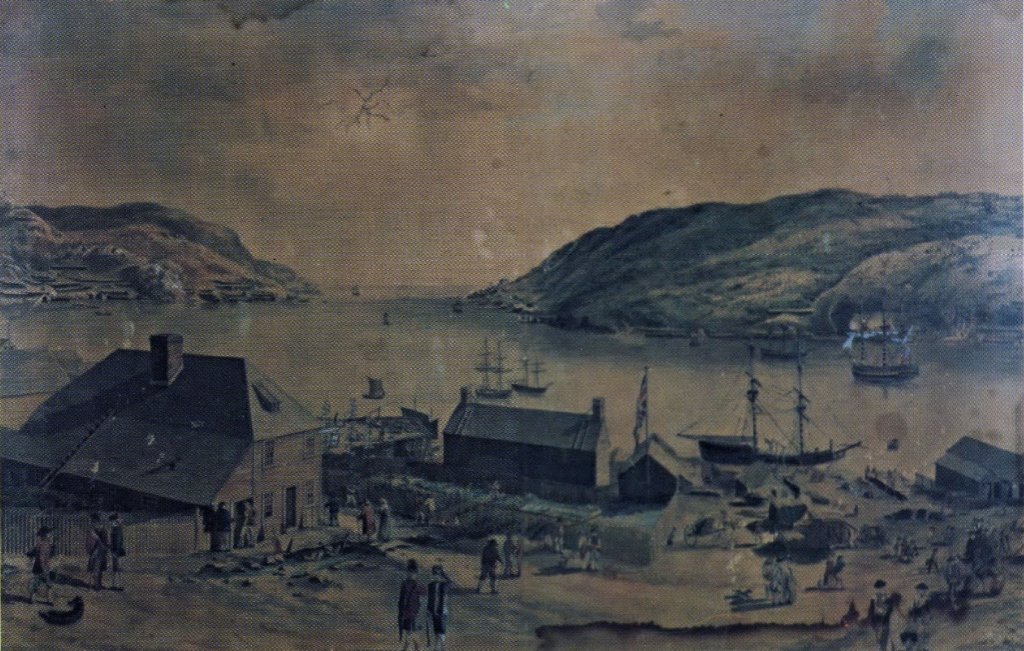 Image of St. John's circa 1780 showing a tavern in the foreground.